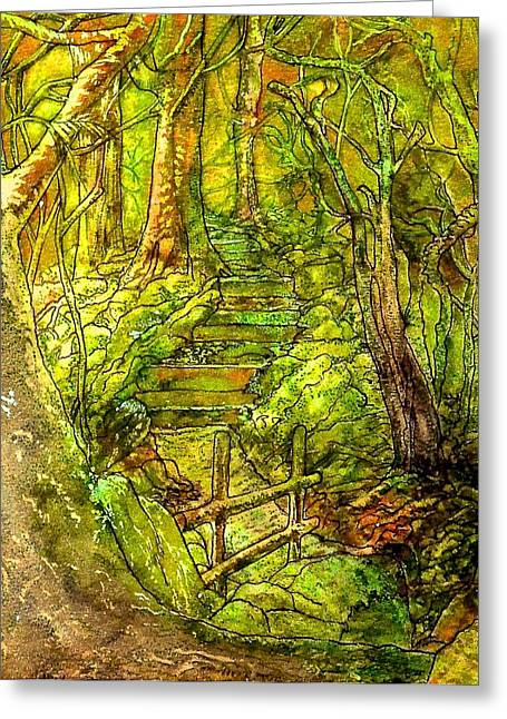 Pictures Of Lichens Greeting Cards - In The Heart Of The Forest Greeting Card by Emma Childs
