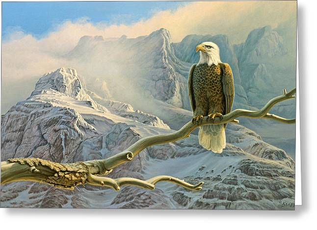 Bald Eagles Greeting Cards - In the High Country-Eagle Greeting Card by Paul Krapf