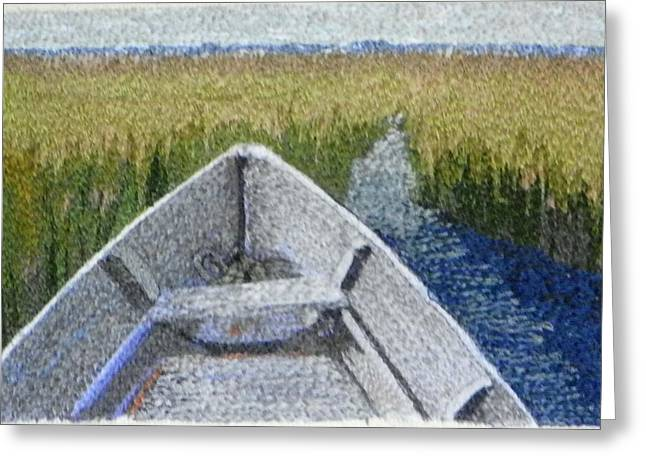 Boats In Water Mixed Media Greeting Cards - In the High Grass Greeting Card by Jenny Williams