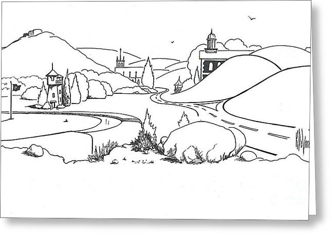 Mountain Valley Drawings Greeting Cards - In the Land of Brigadoon  Greeting Card by Kip DeVore