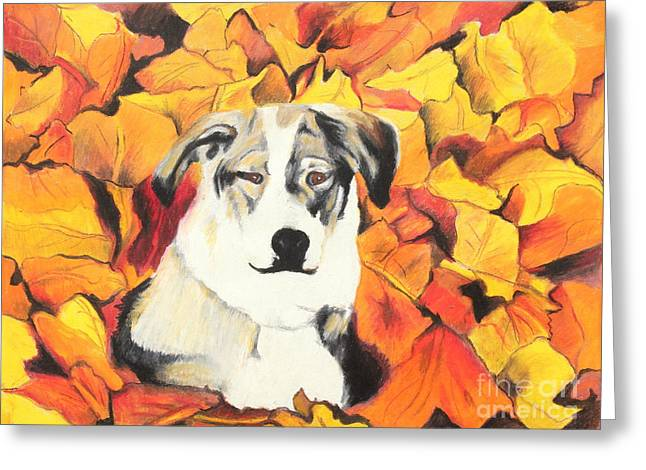 Doggy Pastels Greeting Cards - In  the leaves Greeting Card by Jeanne Fischer