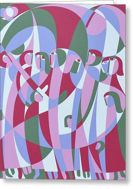 Hard Edged Greeting Cards - In The Life, 1999 Acrylic On Board Greeting Card by Ron Waddams