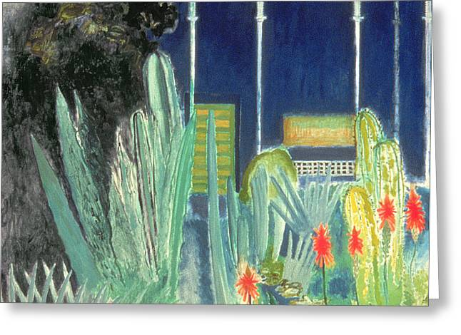 Jardins Greeting Cards - In The Majorelle Gardens Oil On Canvas Greeting Card by David Alan Redpath Michie