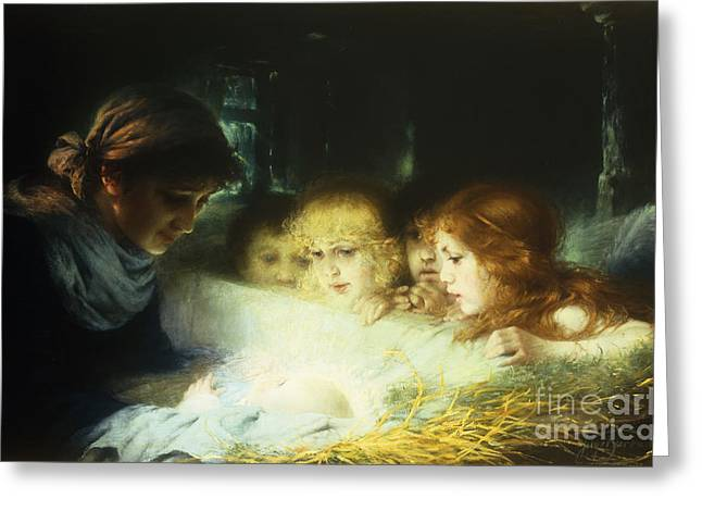 Christ Child Greeting Cards - In the Manger Greeting Card by Hugo Havenith