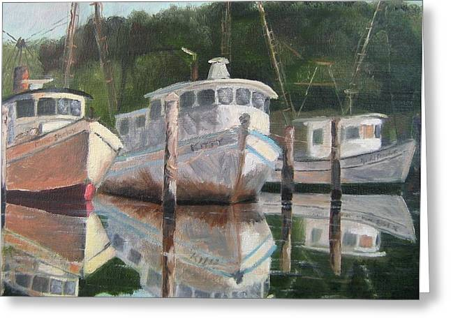 Apalachicola Seafood Greeting Cards - In the mirror at Mill Pond Greeting Card by Susan Richardson