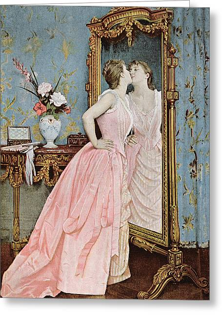 Young Drawings Greeting Cards - In the Mirror Greeting Card by Auguste Toulmouche