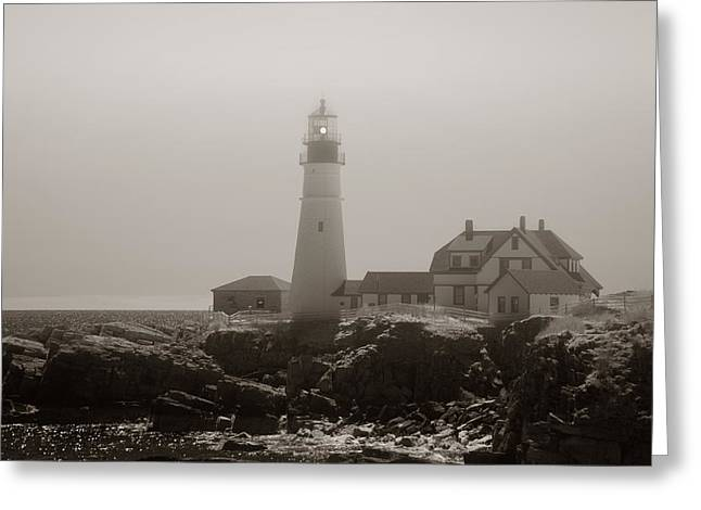 New England Lighthouse Greeting Cards - In the Mist Greeting Card by Joann Vitali