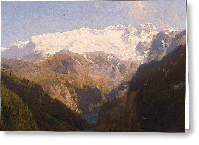 Hermann Greeting Cards - In the Mountains Greeting Card by Hermann Herzog
