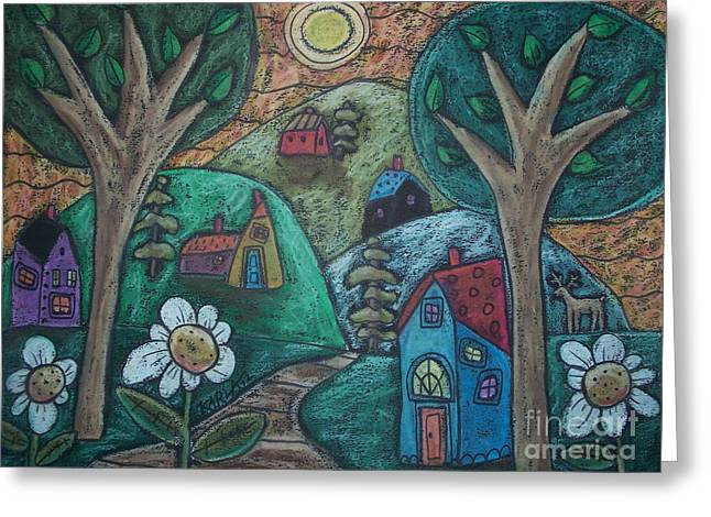 Oil Pastel Greeting Cards - In The Mountains Greeting Card by Karla Gerard