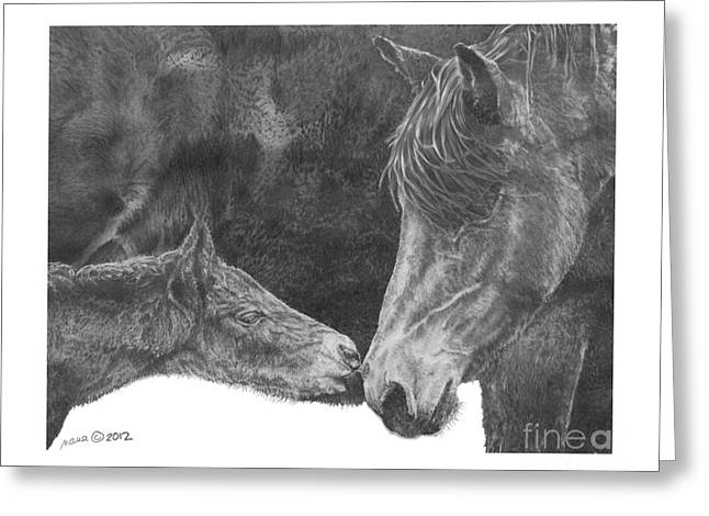 Custom Horse Portrait Greeting Cards - in the name of Love Greeting Card by Marianne NANA Betts
