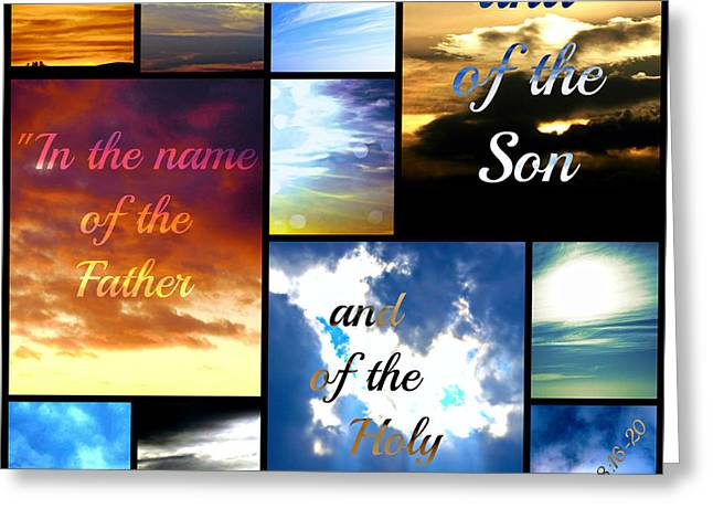 Religious Greeting Cards - In the name of the Father Son Holy Spirit Greeting Card by Sharon Soberon
