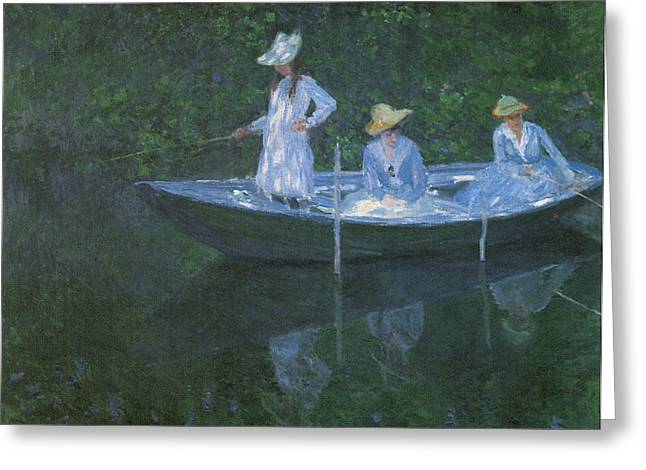 Victorian Era Woman Greeting Cards - In the Norvegienne Greeting Card by Claude Monet