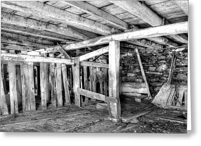 Old Barns Greeting Cards - In the Old Stables Greeting Card by Geoffrey Coelho