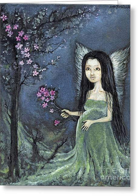 Pregnancy Paintings Greeting Cards - In The Orchard Greeting Card by Angel  Tarantella