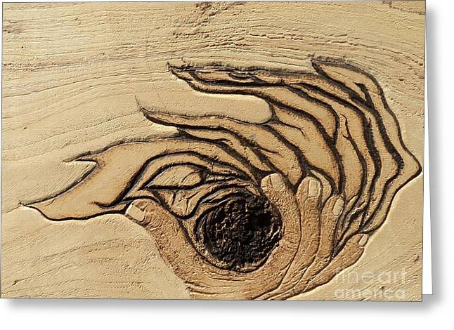 Holy Pyrography Greeting Cards - In the Palm of Our Hands Greeting Card by TK Mayfield
