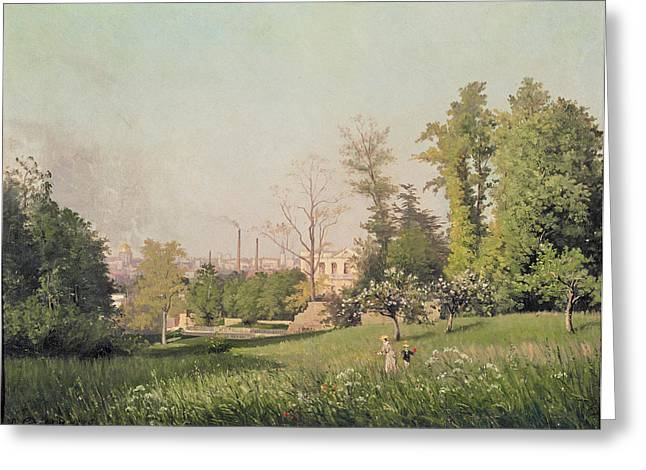 In The Park At Issy-les-moulineaux, 1876 Oil On Canvas Greeting Card by Prosper Galerne