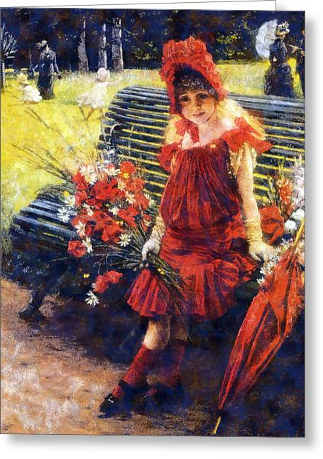 Girl In Water Greeting Cards - In the Park Greeting Card by James Tissot