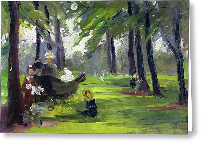 In The Shade Greeting Cards - In the Park  Greeting Card by Mary C Greene