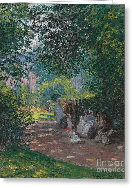 Opening Greeting Cards - In the Park Monceau Greeting Card by Cluade Monet