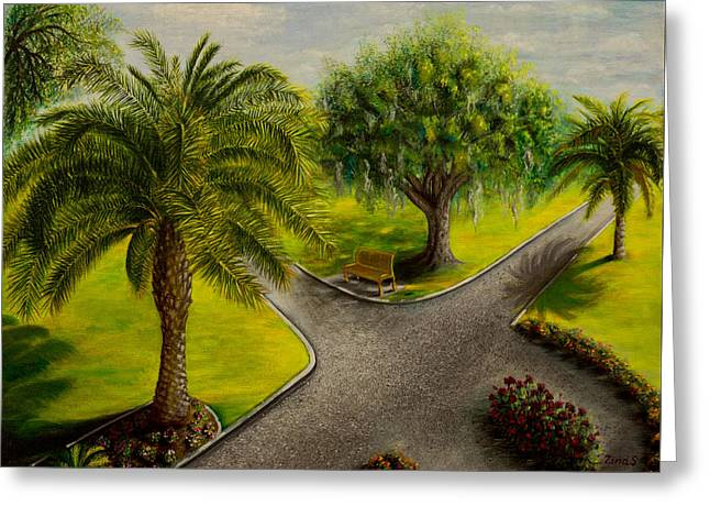 Landscape Paintings Greeting Cards - In the park Greeting Card by Zina Stromberg