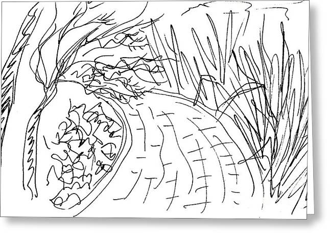 Nature Center Drawings Greeting Cards - In the Parque de la Bateria in Torremolinos Greeting Card by Chani Demuijlder