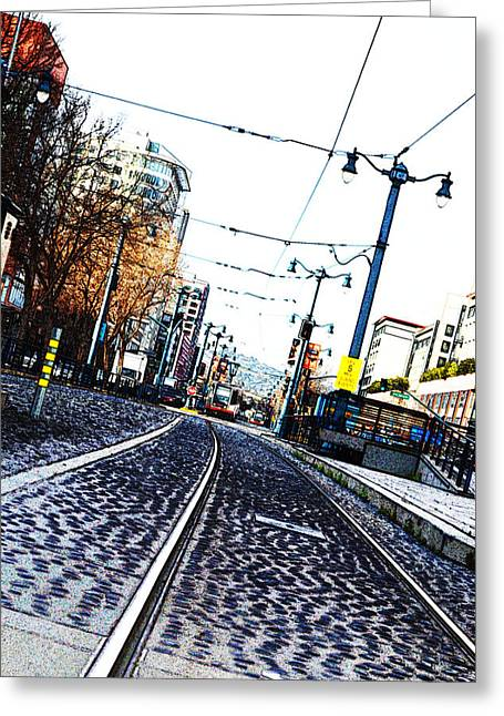 Public Jail Greeting Cards - In The Path of A Cable Car Greeting Card by Holly Blunkall