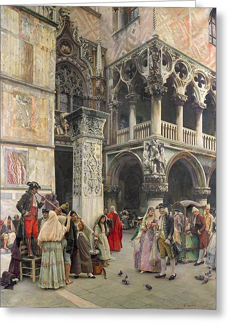 Market Square Greeting Cards - In the Piazzetta Greeting Card by William Logsdail