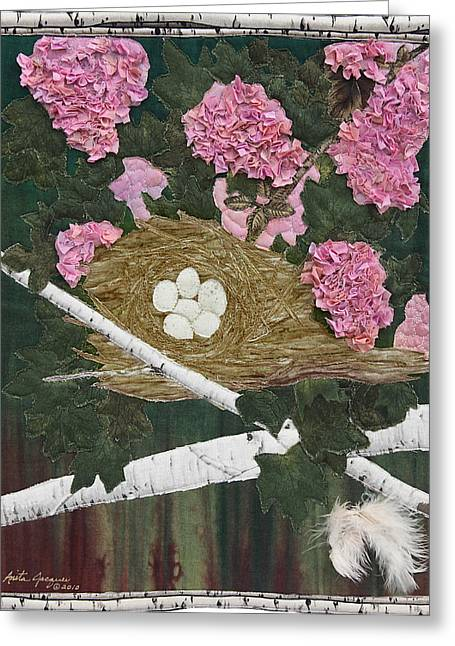 Egg Tapestries - Textiles Greeting Cards - In the Pink Greeting Card by Anita Jacques