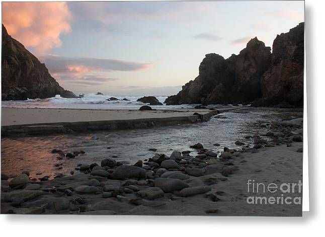 Pfeiffer Beach Greeting Cards - In The Pink Greeting Card by Suzanne Luft