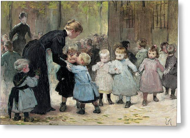 Innocence Greeting Cards - In The Playground Oil On Canvas Greeting Card by Henri Jules Jean Geoffroy