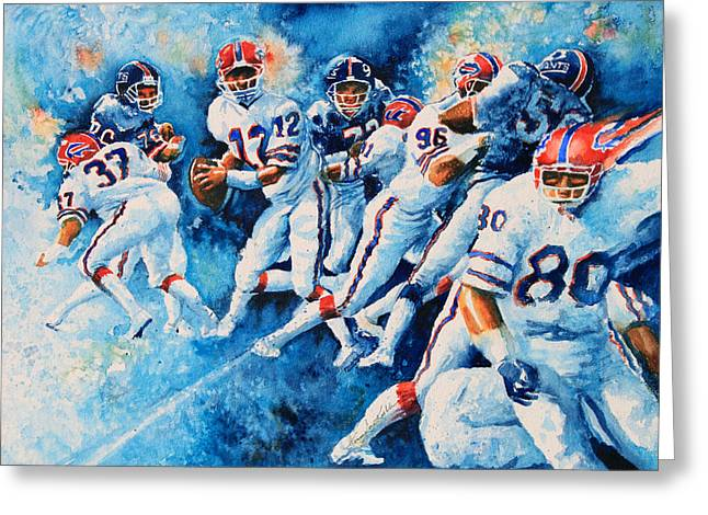 National Football League Paintings Greeting Cards - In The Pocket Greeting Card by Hanne Lore Koehler