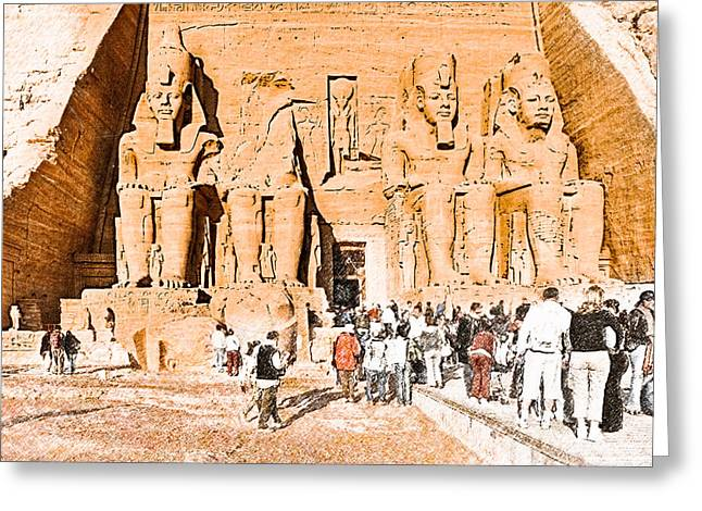 Colossal Greeting Cards - In The Presence of Ramses II at Abu Simbel Greeting Card by Mark Tisdale