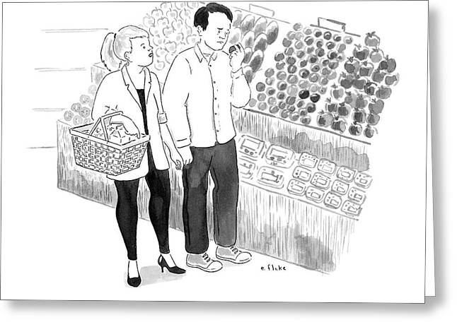 In The Produce Section Of A Grocery Store Greeting Card by Emily Flake