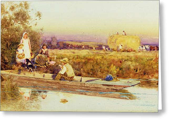Boats In Water Greeting Cards - In the Punt Greeting Card by Thomas James Lloyd