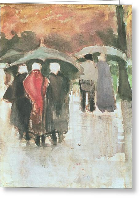 Umbrellas Greeting Cards - In The Rain, 1882 Greeting Card by Vincent van Gogh