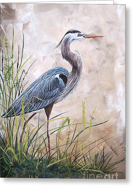 Recently Sold -  - Water Fowl Greeting Cards - In the Reeds-Blue Heron-A Greeting Card by Jean Plout