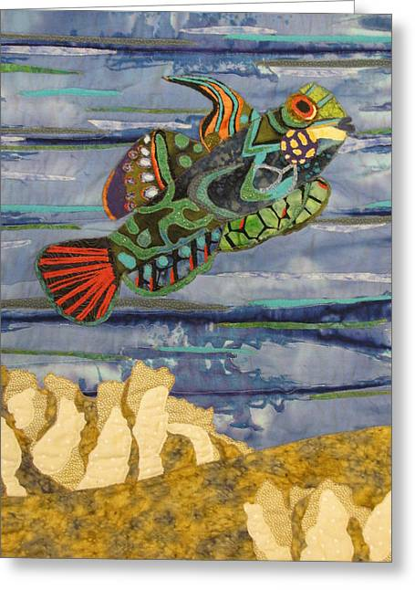 Marine Fish Tapestries - Textiles Greeting Cards - In the Reef Greeting Card by Lynda K Boardman