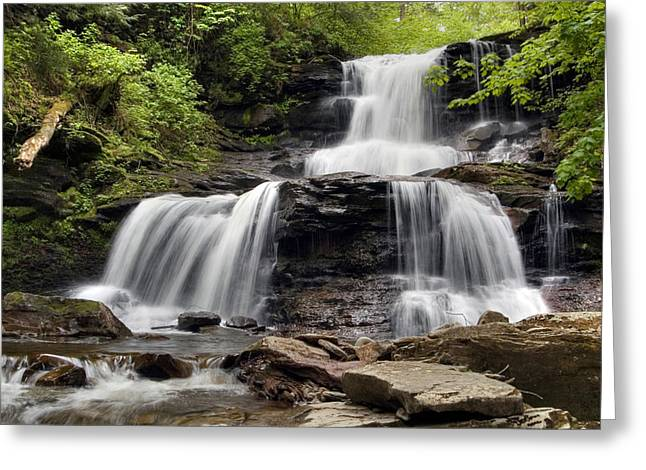 Tuscarora Greeting Cards - In The Refreshing Spray of Tuscarora Falls Greeting Card by Gene Walls
