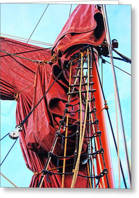 Barges Greeting Cards Greeting Cards - In The Rigging Greeting Card by David Davies