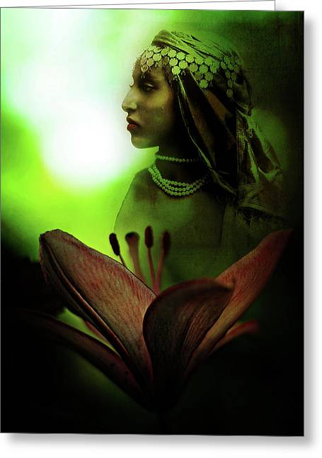In The Secret Of Your Glance Greeting Card by Rebecca Sherman