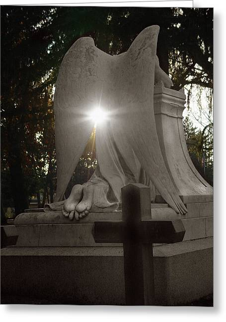 Seraphim Angel Photographs Greeting Cards - In the Shadow of His Light Greeting Card by Peter Piatt