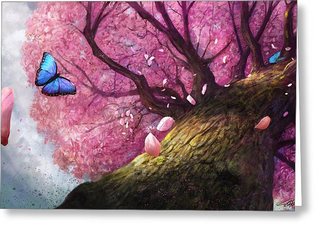 Blossom Digital Art Greeting Cards - In The Shadow Of Peace Greeting Card by Steve Goad