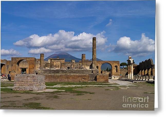 The Shadow Of Death Greeting Cards - In the Shadow of the Volcano Greeting Card by Brenda Kean