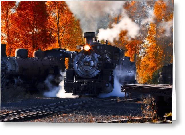 Railyard Greeting Cards - In The Shuffling Madness Greeting Card by Phillip Noll Raven Mountain Images
