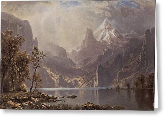 Deer Watering In The Lake Greeting Cards - In The Sierras Greeting Card by Albert Bierstadt