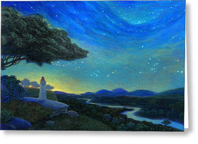 Transformations Paintings Greeting Cards - In the Silence Greeting Card by Michael Z Tyree