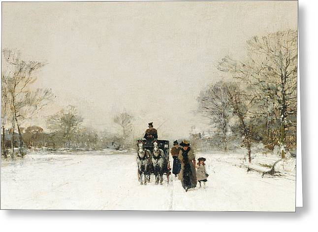 Winter Travel Greeting Cards - In the Snow Greeting Card by Luigi Loir