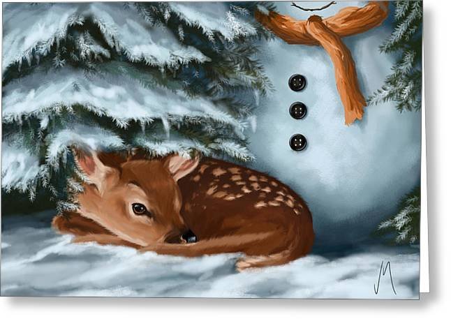 Winter Night Greeting Cards - In the snow Greeting Card by Veronica Minozzi
