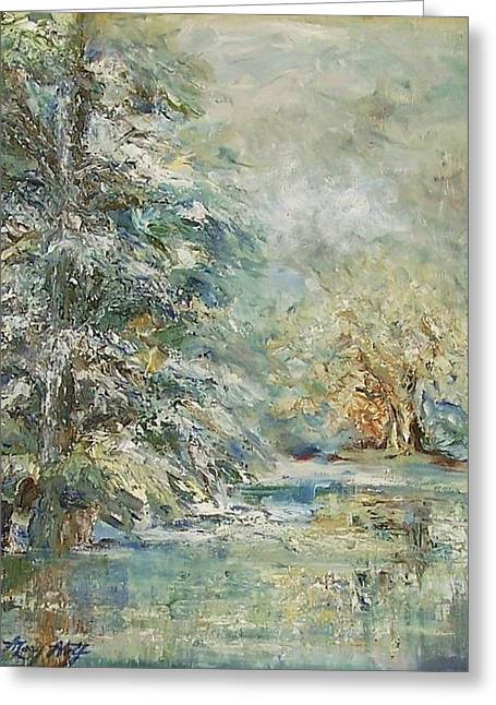 In The Snowy Silence Greeting Card by Mary Wolf