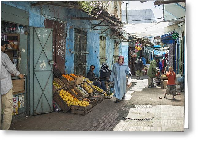 Rabat Photographs Greeting Cards - In the souk Greeting Card by Patricia Hofmeester
